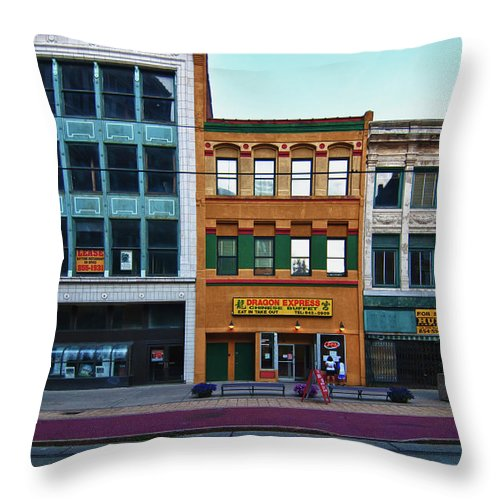 Architecture Throw Pillow featuring the photograph Main Street Decay 11429 by Guy Whiteley