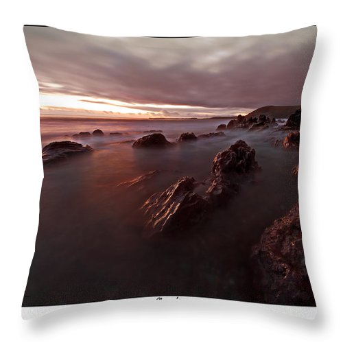 Seascape Throw Pillow featuring the photograph Manorbier Dusk by Beverly Cash