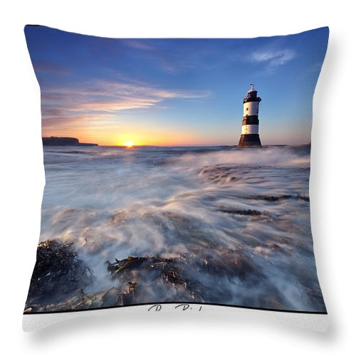 Seascape Throw Pillow featuring the photograph Penmon Point Lighthouse by Beverly Cash