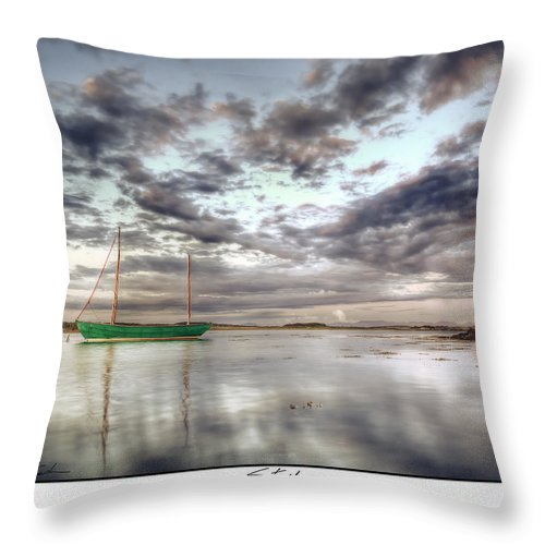 Green Throw Pillow featuring the photograph Still - Green Boat by Beverly Cash