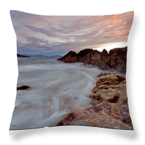 Seascape Throw Pillow featuring the photograph Sunset by Beverly Cash