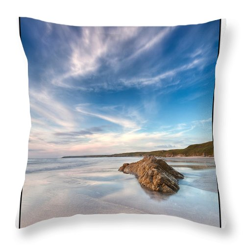 Seascape Throw Pillow featuring the photograph Welsh Coast - Porth Colmon by Beverly Cash