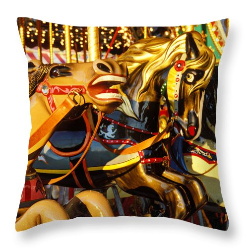 Wild Carrousel Horses Throw Pillow featuring the photograph Wild Carrousel Horses by Garry Gay