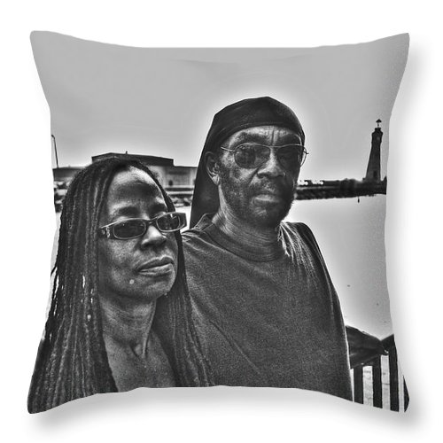 Throw Pillow featuring the photograph 0013 The Lion And Lioness by Michael Frank Jr