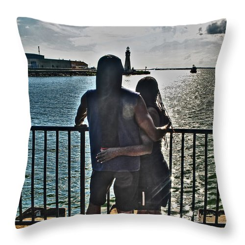Throw Pillow featuring the photograph 0017 The Lion And Lioness As One by Michael Frank Jr