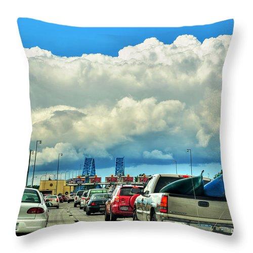 Throw Pillow featuring the photograph 002 Grand Island Bridge Series by Michael Frank Jr