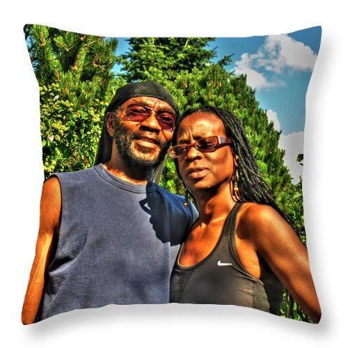 Throw Pillow featuring the photograph 002 The Lion And Lioness by Michael Frank Jr