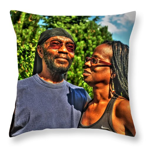 Throw Pillow featuring the photograph 003 The Lion And Lioness by Michael Frank Jr