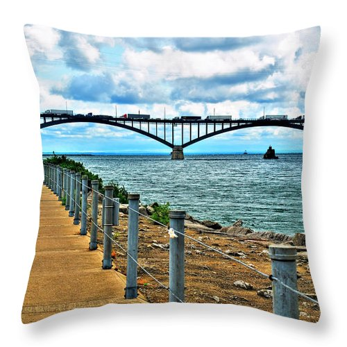 Throw Pillow featuring the photograph 004 Stormy Skies Peace Bridge Series by Michael Frank Jr