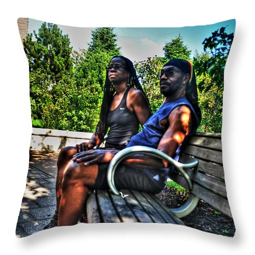 Throw Pillow featuring the photograph 005 The Lion And Lioness by Michael Frank Jr