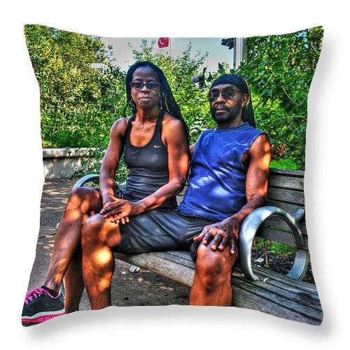 Throw Pillow featuring the photograph 006 The Lion And Lioness by Michael Frank Jr