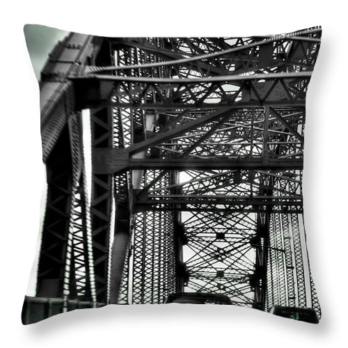 Throw Pillow featuring the photograph 008 Grand Island Bridge Series by Michael Frank Jr