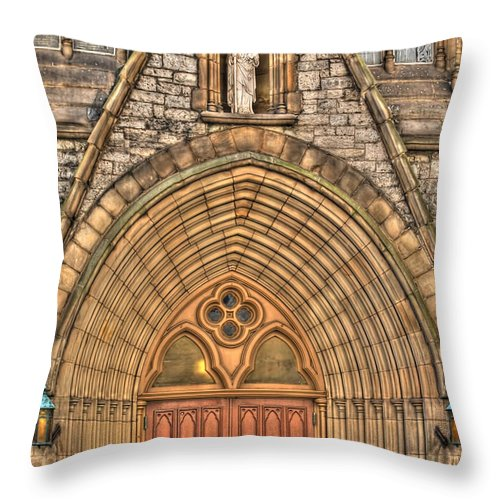 Throw Pillow featuring the photograph 02 Church Doors by Michael Frank Jr