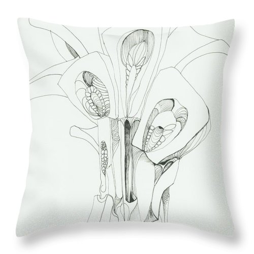 Organic Throw Pillow featuring the drawing 0811-25 by Charles Cater