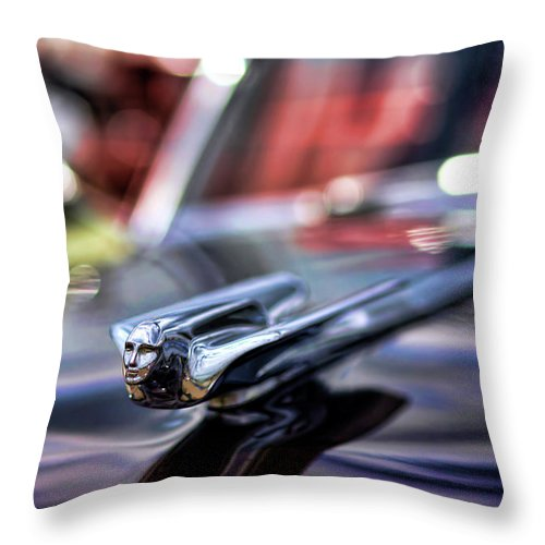 1949 Throw Pillow featuring the photograph 1949 Cadillac Hood Ornament by Gordon Dean II