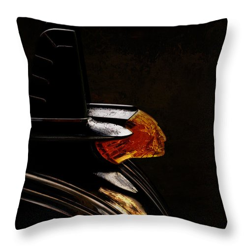 Hood Ornament Throw Pillow featuring the digital art 1953 Pontiac Indian Chief by Douglas Pittman