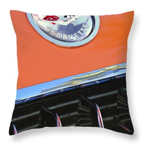 1958 Chevrolet Corvette Throw Pillow featuring the photograph 1958 Chevrolet Corvette Hood Emblem by Jill Reger