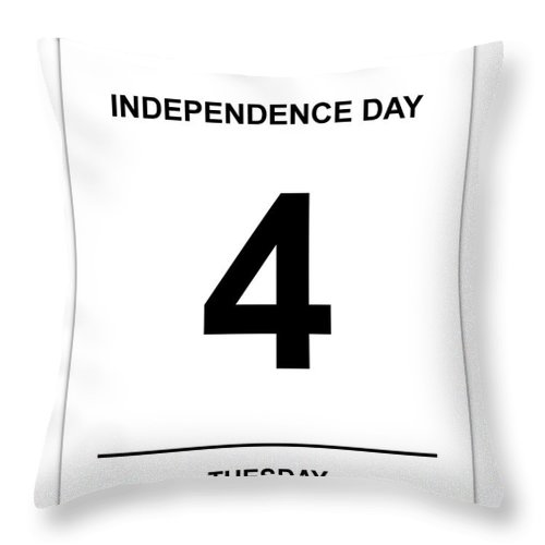 Numbers Throw Pillow featuring the digital art 4th July by Henrik Lehnerer