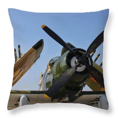 Douglas A-1d Skyraider Throw Pillow featuring the photograph A-1d Skyraider by Tommy Anderson