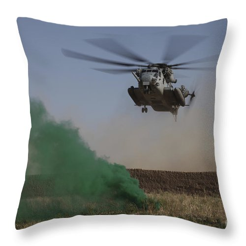 Us Marine Corps Throw Pillow featuring the photograph A Ch-53 Super Stallion Helicopter by Stocktrek Images