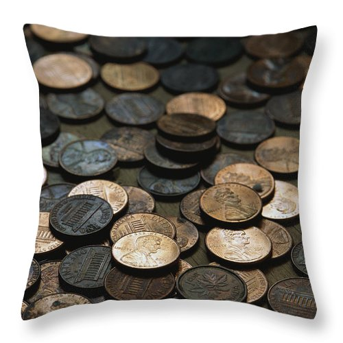 Money Throw Pillow featuring the photograph A Close View Of American Money by Joel Sartore