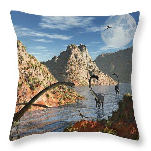 Horizontal Throw Pillow featuring the digital art A Herd Of Omeisaurus Dinosaurs by Mark Stevenson