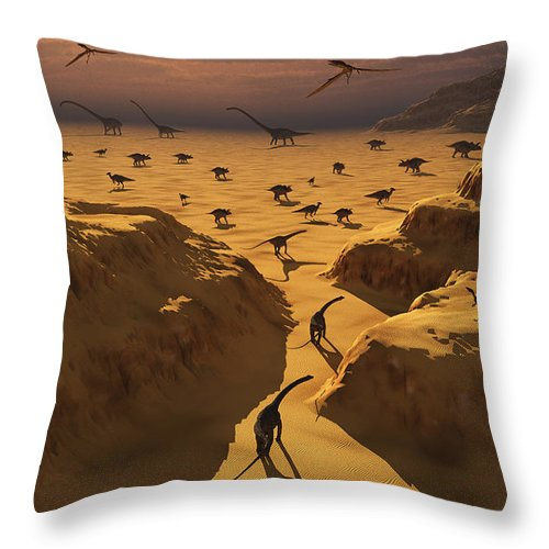 Horizontal Throw Pillow featuring the digital art A Mixed Herd Of Dinosaurs Migrate by Mark Stevenson