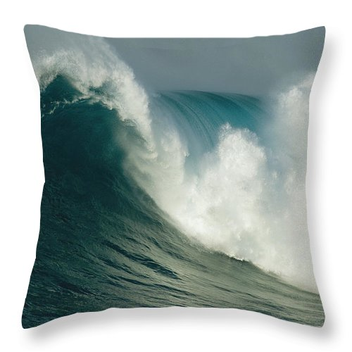 Water Throw Pillow featuring the photograph A Powerful Wave, Or Jaws, Off The North by Patrick Mcfeeley