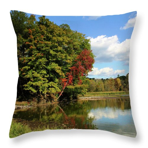 Lake Throw Pillow featuring the photograph A Touch Of Autumn by Kristin Elmquist