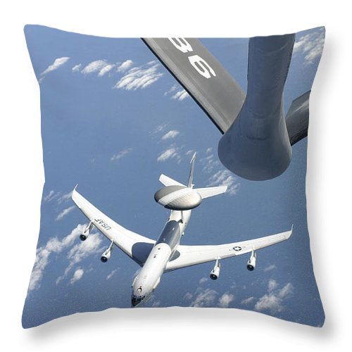 Argentina Throw Pillow featuring the photograph A U.s. Air Force E-3 Sentry Airborne by Stocktrek Images