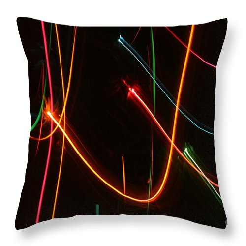 Abstract Throw Pillow featuring the photograph Abstract Motion Lights by Henrik Lehnerer