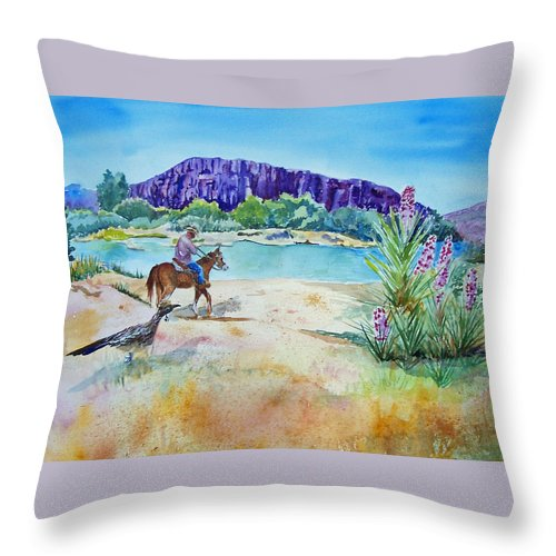 Rio Grande River Throw Pillow featuring the painting Texas - Along The Rio-grande by Christine Lathrop