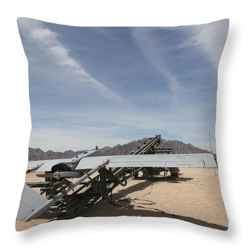Uav Throw Pillow featuring the photograph An Rq-7 Shadow Unmanned Aerial Vehicle by Stocktrek Images