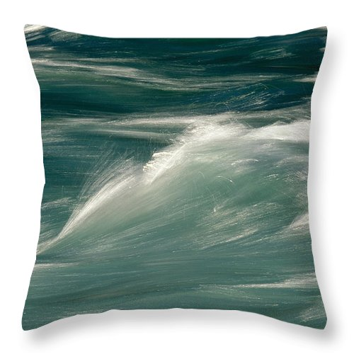 Water Throw Pillow featuring the photograph Aqua Blue Waves by Skip Brown