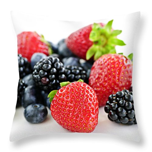 Berries Throw Pillow featuring the photograph Assorted Fresh Berries by Elena Elisseeva