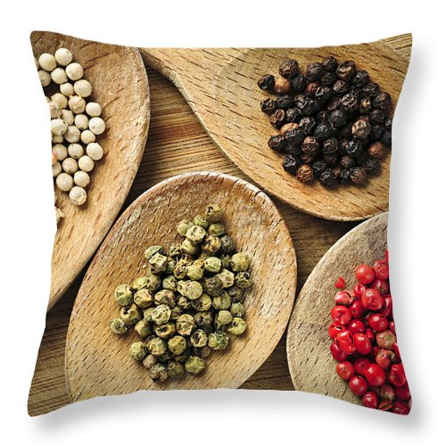 Peppercorns Throw Pillow featuring the photograph Assorted Peppercorns by Elena Elisseeva