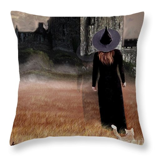 Witch Throw Pillow featuring the painting Autumn Witch by Kami Catherman