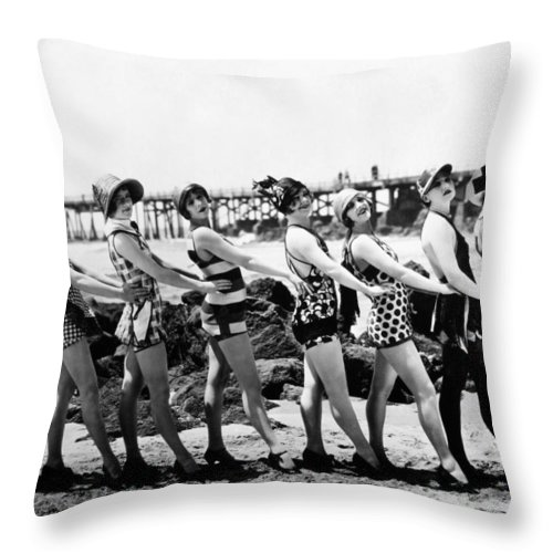 1916 Throw Pillow featuring the photograph Bathing Beauties, 1916 by Granger