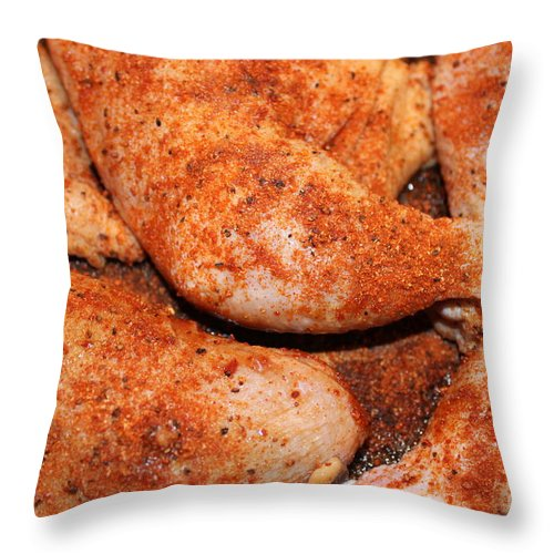 Poultry Throw Pillow featuring the photograph Bbq Chicken by Henrik Lehnerer