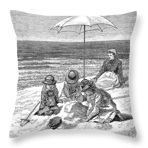 1879 Throw Pillow featuring the photograph Beach Scene, 1879 by Granger