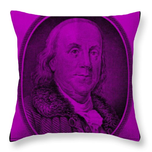 Ben Franklin Throw Pillow featuring the photograph Ben Franklin In Purple by Rob Hans