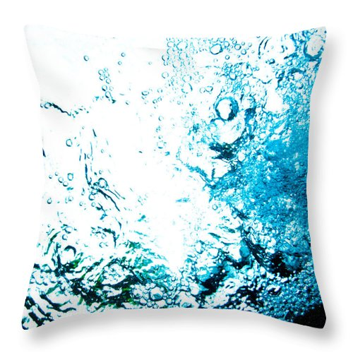 Abstract Throw Pillow featuring the photograph Blue White Water Bubbles In A Pool by U Schade