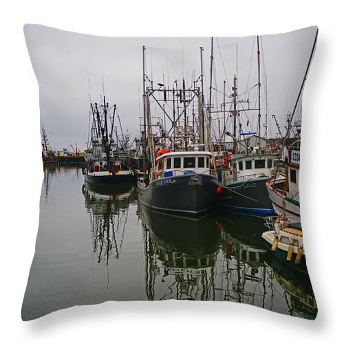 Fishing Boats Throw Pillow featuring the photograph Boat Reflections by Randy Harris