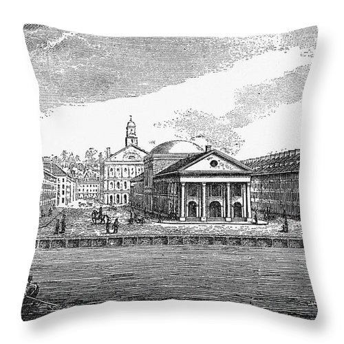 19th Century Throw Pillow featuring the photograph Boston: Quincy Market by Granger