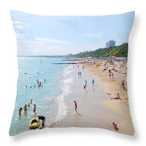 Bournemouth Throw Pillow featuring the photograph Bournemouth Beaches by Chris Day