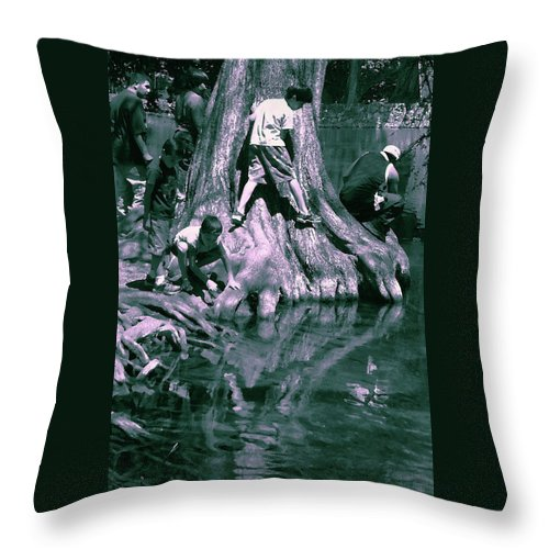 Throw Pillow featuring the photograph Boys By The River by Nina Fosdick