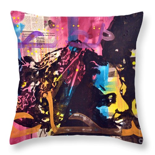 Women Throw Pillow featuring the painting Brave... by Martina Anagnostou