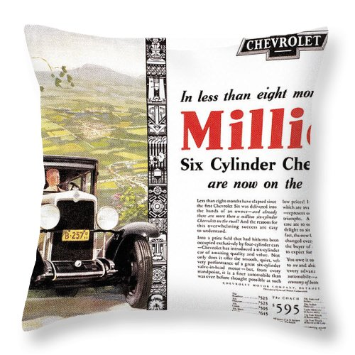 1929 Throw Pillow featuring the photograph Chevrolet Ad, 1929 by Granger