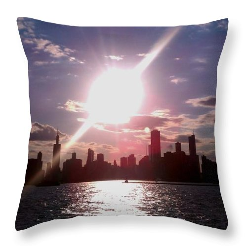 Chicago Throw Pillow featuring the photograph Chicago Sunset by Glory Fraulein Wolfe