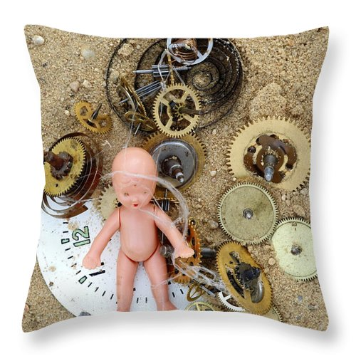 Abstract Throw Pillow featuring the photograph Child In Time by Michal Boubin